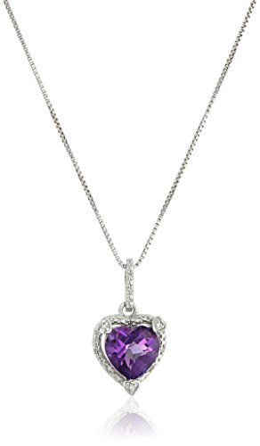 Lavari – 1.50 Ct Heart Purple Amethyst Diamond Sterling Silver Pendant 18