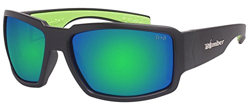 Bomber Eyewear BG103GMGF Non-Polarized Boogie Bomb Safety Glasses Matte Black Frame Green Mirror Lens
