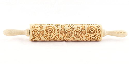 (STODOLA Folk Pattern with Rooster - Engraved rolling pin for Embossed cookies)