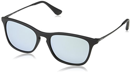 Ray-Ban Boys' Chris Junior Non-Polarized Iridium Rectangular Sunglasses, Rubber Black 700530, 49 - Bans Ray In Boys