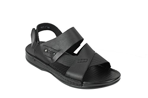 Mens Real Leather Sandals Adjustable Strap Open Front Slip On Walking Slippers Shoes Black Brown Black rC2sMwL