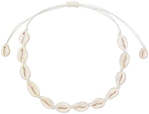 LEYSTARE Natural Sea Shell Beads Handmade Hawaii Wakiki Beach Choker Necklace Adjustable Bracelet Anklet for Girls Ladies (White Necklace)