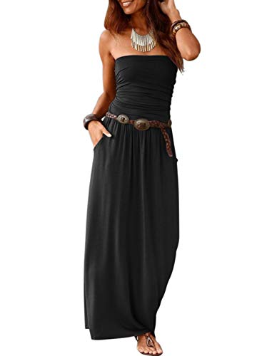 Happy Sailed Women Summer Strapless Maxi Dresses Off The Shoulder Party Dress with Pockets Medium Black