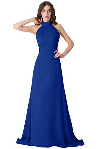 sunvary V Cuello Gasa Cintura Empire novia Vestidos de Fiesta con appliques negro azul cobalto