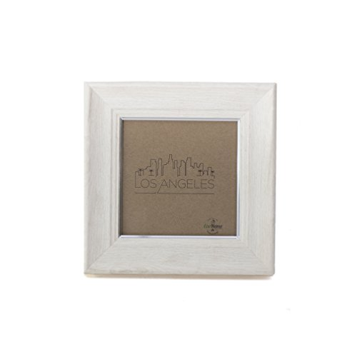 4x4 Picture Frame Ivory Silver - Mount Desktop Display, Instagram Prints Frames by EcoHome ()