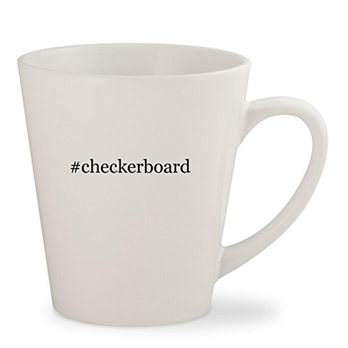 #checkerboard - White Hashtag 12oz Ceramic Latte Mug Cup