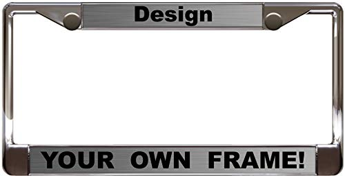 Custom Personalized Chrome Metal Car License Plate Frame with Free caps - Steel/Black