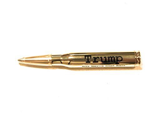 Lock and Load 30-Caliber Bullet Pen - Metal Refillable Brass Color - German Ink Swiss Refill (Trump)