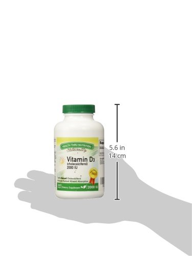 Vitamin D3 2000 IU, 365 Softgels, Soy Free, USP Grade Natural Vitamin D.