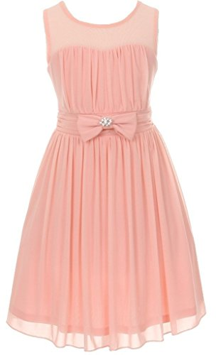 weetheart Chiffon Gown Bow Crystal Flowers Girls Dresses Blush Size 16 (Ballerina Length Long Gown)