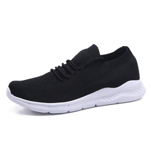 aeepd Men's Athletic Walking Shoes Breathable Mesh Sneakers Lightweight Ultra-Sock Knit Running Shoes Black