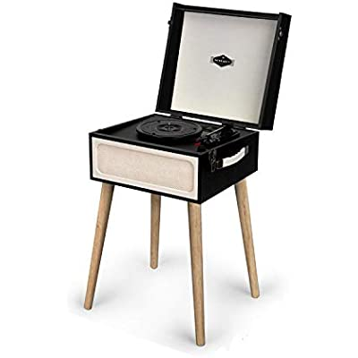 AUNA Sarah Ann -Retro Edition  Record Player w Built-in Stereo Speakers  Bluetooth  Headphone Jack  USB  33  and rpm  Retro Suitcase Design