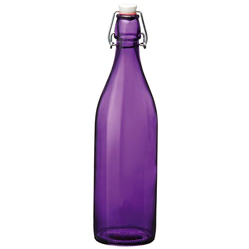 Bormioli Rocco Giara Swing Top Bottle Purple 1 Litre - Set of 6 - Purple Glass Bottle for Cordials and Preserves