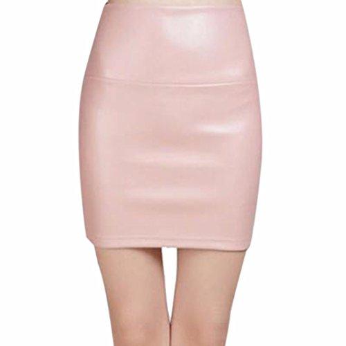 Jupe Taille Court Hiver rose Crayon Haute Cuir En Pu Moulante nue Mini Wrap Faux Mince qwvrqYfZEx