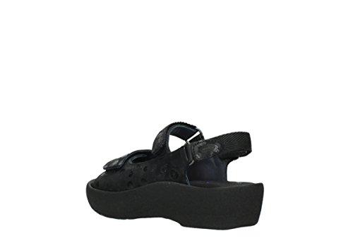 Wolky Womens 3204 Jewel Leather Sandals 12000 schwarz Nubuck