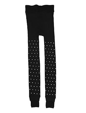 Women Lips Print Close-fitting Inner Fleece Pantyhose Tights Black S