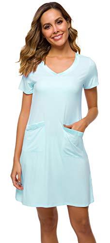(WiWi Womens Nightgowns Soft Bamboo Short Sleeve Sleepwear S-4XL, Aqua, Large)