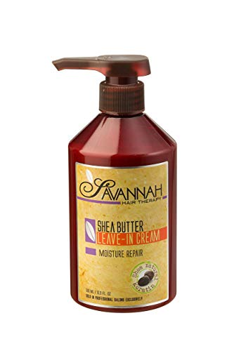 - Savannah Hair Therapy Leave In Cream - Moisture Repair Treatment - Shea Butter, Cotton and Silk Protein and Vitamin B6 - For Dry and Damaged Hair. Sodium Chloride and Sulfate Free. 16.9 oz