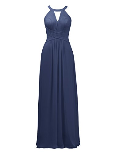 (Alicepub Keyhole Bridesmaid Dress Long Formal Evening Prom Gown for Wedding Maxi, Navy, US16)