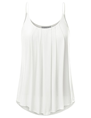 Ivory Cami Top - JJ Perfection Women's Pleated Chiffon Layered Cami Tank Top Ivory XL