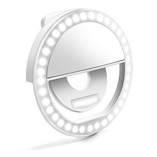 Selfie Ring Light, Enlody Dimmable Clip Ring Lighting - Rechargeable 36 LED Bulbs Light for iPhone, Android, Tablet, iPad, Laptop, Camera (White) by Enlody (Image #9)