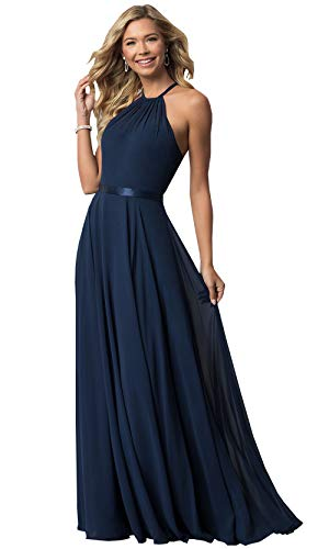 (Women's Halter Long Bridesmaid Dresses Open Back A-line Formal Evening Party Gowns (Navy Blue,10) )