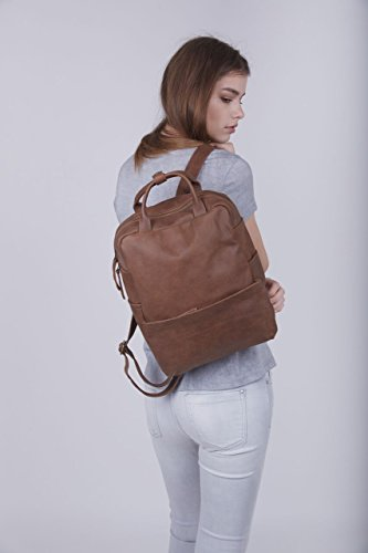 Handmade 13 Inch Genuine Matte Brown Leather Unisex Student Laptop Backpack School Business Work by Lady Bird Bags
