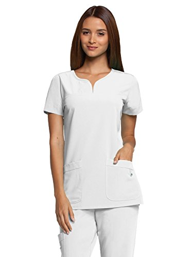 Grey's Anatomy Signature Women's Two Pocket Notch Yoke Neck Scrub Top, White, Small