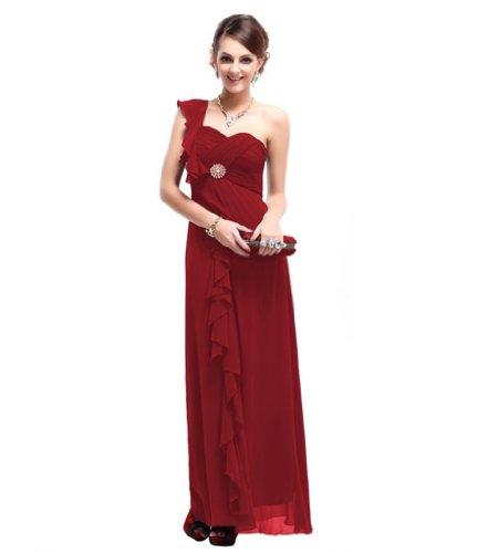 Chiffon Aermellos 1 Seitlicher Abendkleider Etui Dearta Bodenlang Kleidungen Linie Dunkelrot Damen Schulter Reissverschluss W1x6wZFgf