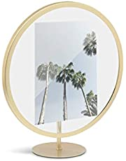 Umbra Infinity Round Desktop or Wall Picture Frame, 5 x 7, Brass
