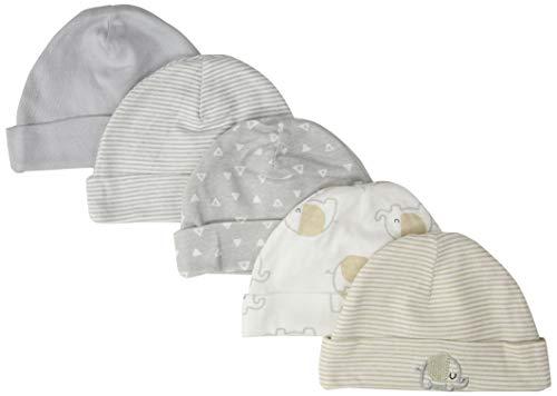 Gerber Baby 5-Pack Caps, Elephant, 0-6 Months