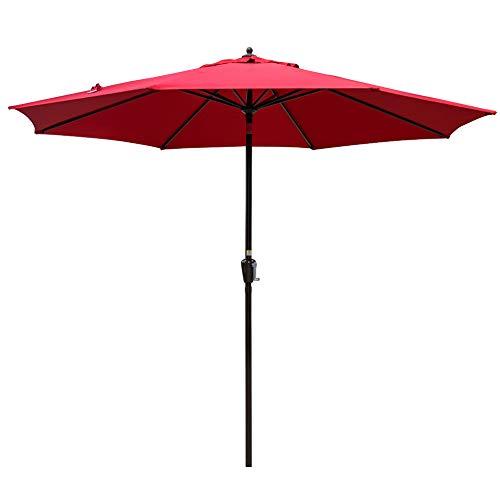 Sundale Outdoor 10FT Market Umbrella Table Umbrella with Crank and Auto Tilt, Aluminum Ribs, Polyester Canopy Shade for Patio, Garden, Deck, Backyard, Pool, Red (Best Outdoor Umbrellas Reviews)