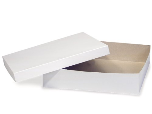 Pack of 50, White Gloss Hi-Wall 14 x 14 x 3'' 100% Recycled Giftware Box Base Use Food Safe Barrier Like Food Grade Tissue or Cello for Food Packaging(Lids Sold Separately) by Generic