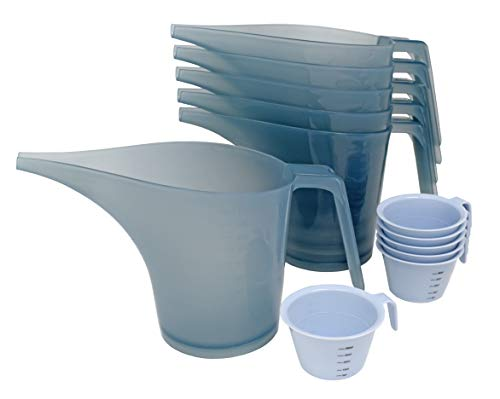 PreOkupied 6-Pack of 1 Liter Funnel Pitchers, Translucent Gray, and a 6-Pack of Mini 60 Milliliter Measuring Cups