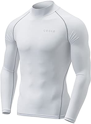 Tesla Mens Mock Long-Sleeved T-Shirt Cool Dry Compression Baselayer MUT72/MUT02/T02/T12