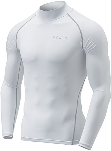 Golf Performance Mock Shirt - Tesla TM-MUT02-WHT_Small Men's Mock Long-Sleeved T-Shirt Cool Dry Compression Baselayer MUT02