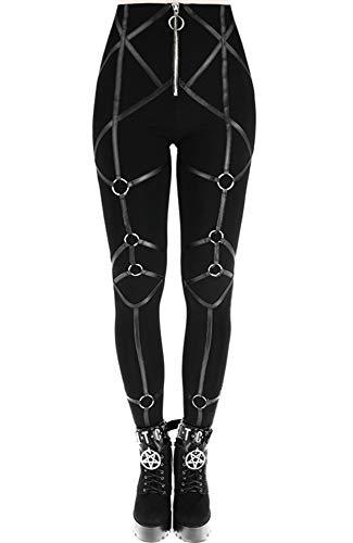 Leather Straps Gothic Nugoth Punk Leggings - Black (M) ()