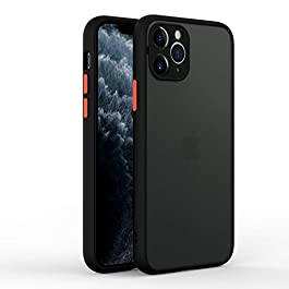 AE Mobile Accessories Back Cover for iPhone 11 Pro Smoke Translucent Shock Proof Smooth Rubberized Matte Hard Back Case Cover with Camera Protection (Black)