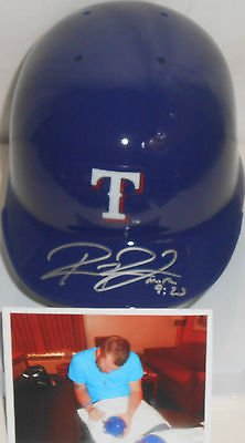 (Robbie Ross Texas Rangers Autographed Signed Mini Helmet w/picture)