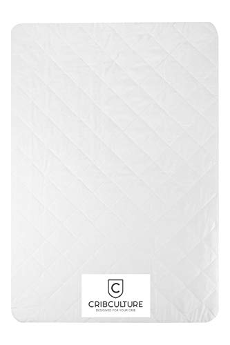CC Crib Mattress Pad - Fitted 9 Skirt, Waterproof, Premium Quality and Hypoallergenic Cover Protector Liner for All Standard Crib Mattresses, 28x52x9 White Matress Pad