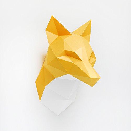 "DIY Paper Assembly Kit Animal Head 3D Wall Trophie - 15"" x 15"" x 15"" (Orange Fox)"