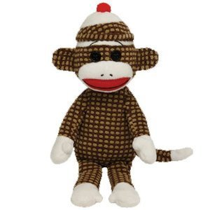 Ty Beanie Babies Sock Monkey Brown Quilted Plush