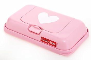 Funkybox - Pequeña cajita para toallitas húmedas - Rosa con corazón blanco by Funky box