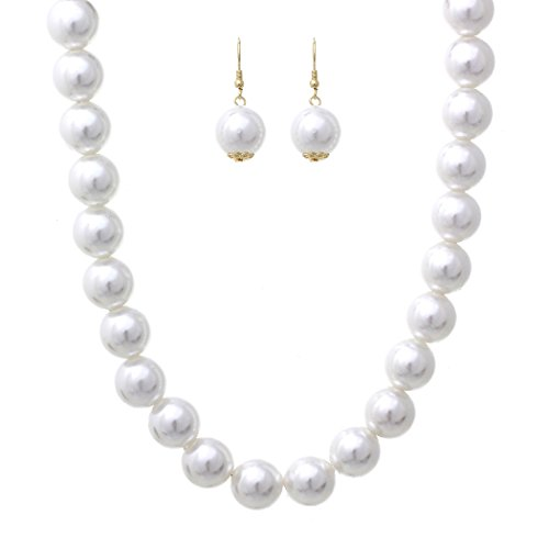 Rosemarie Collections Women's Large White Faux Pearl Strand Necklace Set