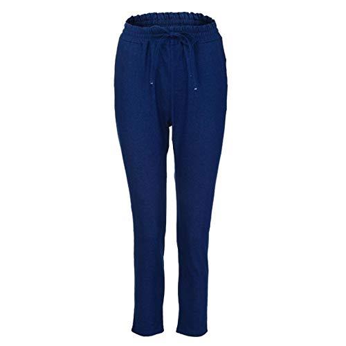 Pantaloni Elegante Lungo A Estivi Blu Vita Alta Lhwy Jeans Scuro Elastici Con donna Sottile Casual SBPPp
