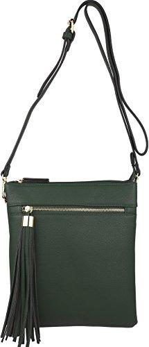 Handbag Pocket Vegan Big Tassel Zip B Accent wih Crossbody Green Purse Double BRENTANO Yx1qwzI