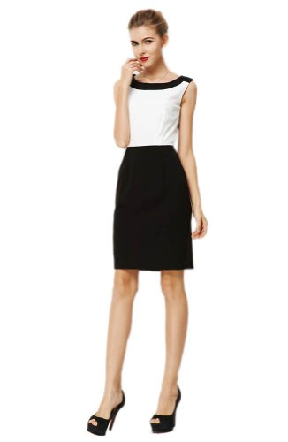 Purpura Erizo Damen Kontrastfarbe Weiß-Schwarz Elegant Kleider,Large