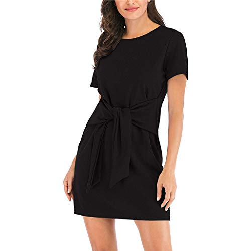 Club Front Plain Twill - Women's Short Sleeve Solid Casual Dresses, AmyDong Round Neck Tie Knot Front Bandage Pencil Dress Black