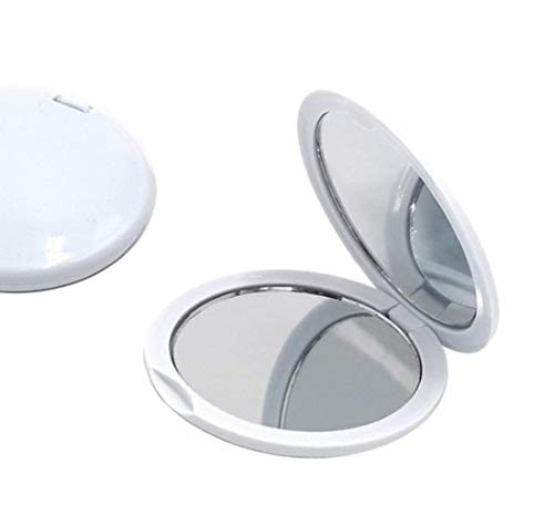 FASHIONCRAFT Magnifying Compact Mirror, Handheld Travel Mirror with 5X Magnification and 1x True View, Perfect for Purse, Pocket and Travel, White (1 Pack)