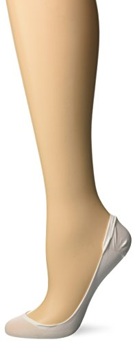 Hanes Silk Reflections Women's Script X-Low Microfiber Foot Covers, White, S/M